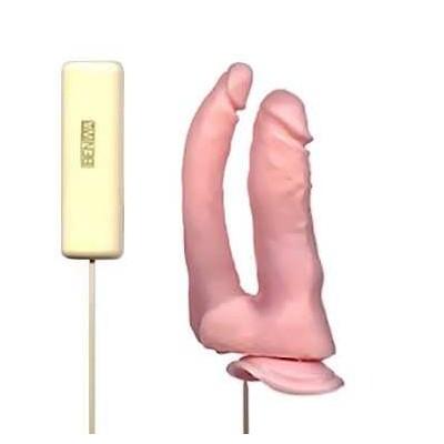 Pênis Duplo Ou Dildo de Silicone Com Vibrador Com Ventosa Prazer Anal e Vaginal